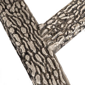 Processional cross base in bronze, bark effect s5