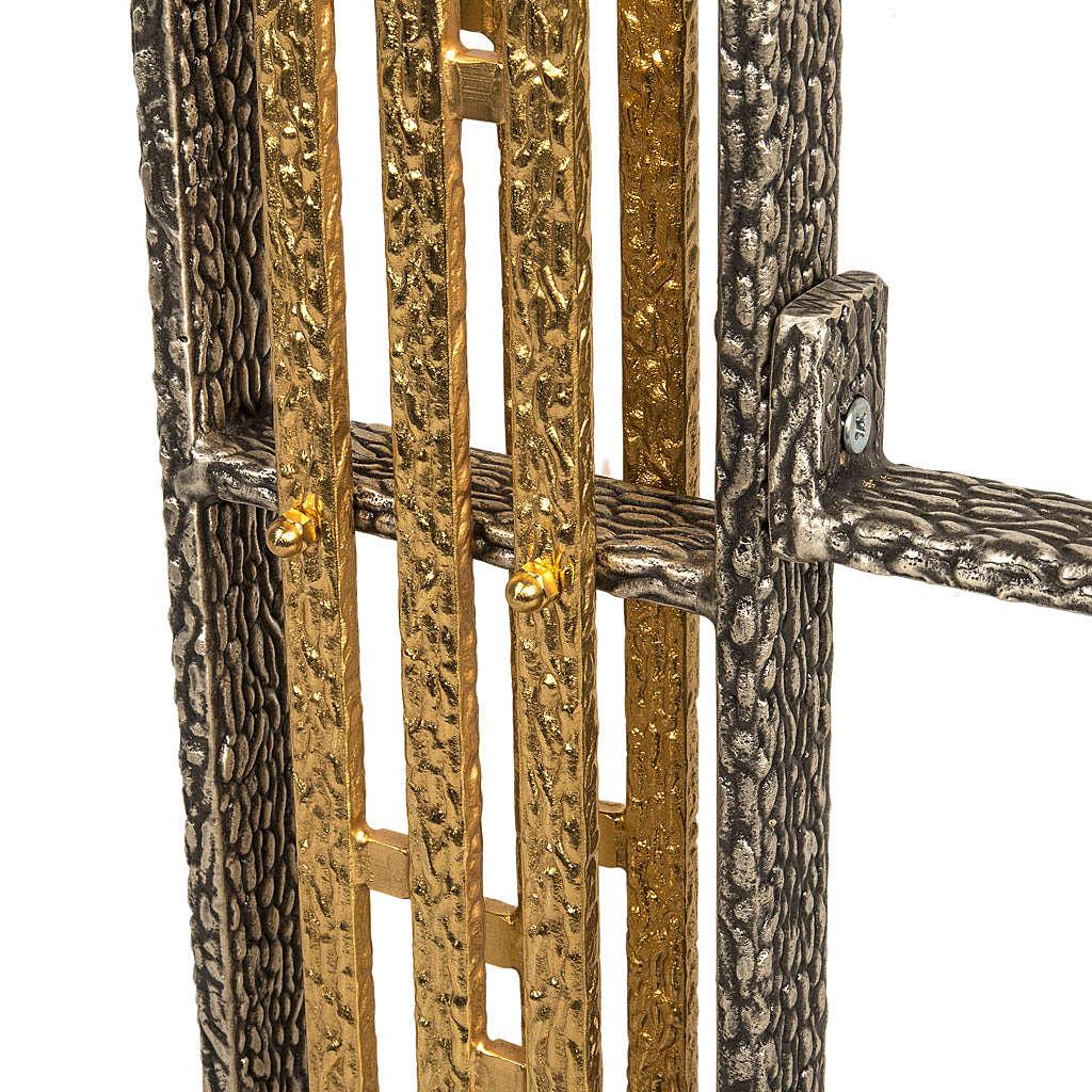 Base porta croce astile e portacerone in bronzo 4
