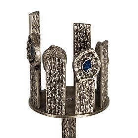 Base porta croce astile e portacerone in bronzo s2
