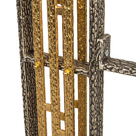 Processional cross base in bronze, large candle s3
