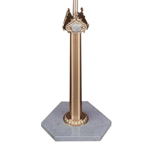 Base per croce astile in ottone fuso e marmo di Trani 1
