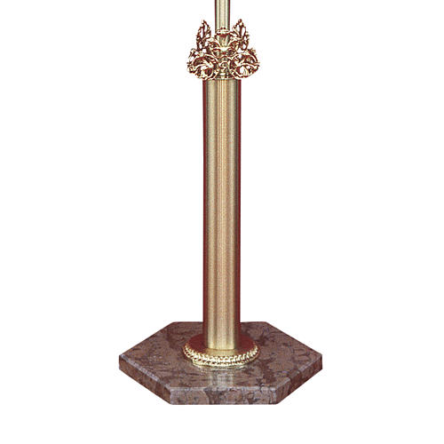 Base croce astile ottone fuso marmo rosso Verona 1