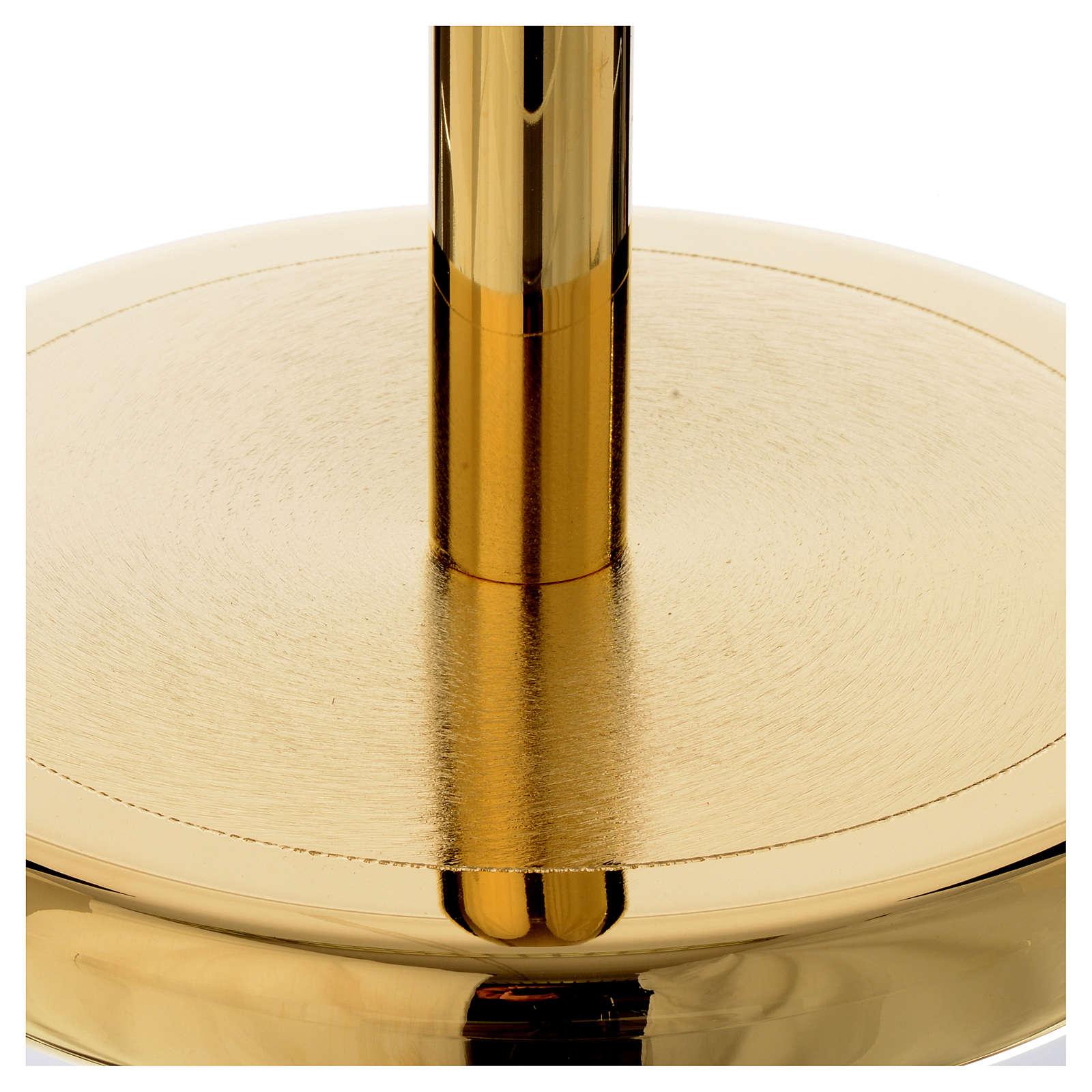 Suporte cruz procissão latão dourado brilhante 4