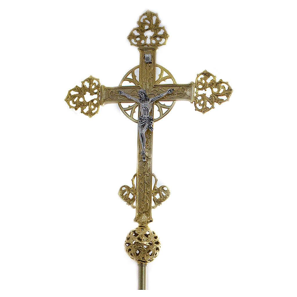 Base pour croix procession laiton moulé or 24K 4