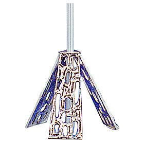 Base croix procession en laiton moulé argent s1