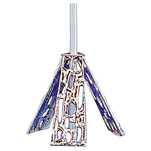 Base croix procession en laiton moulé argent 1