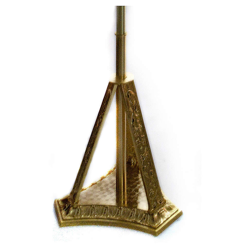Base croix procession en laiton moulé doré 4