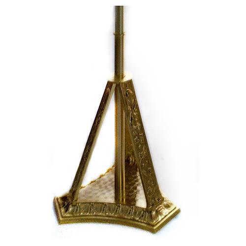 Base croix procession en laiton moulé doré 1