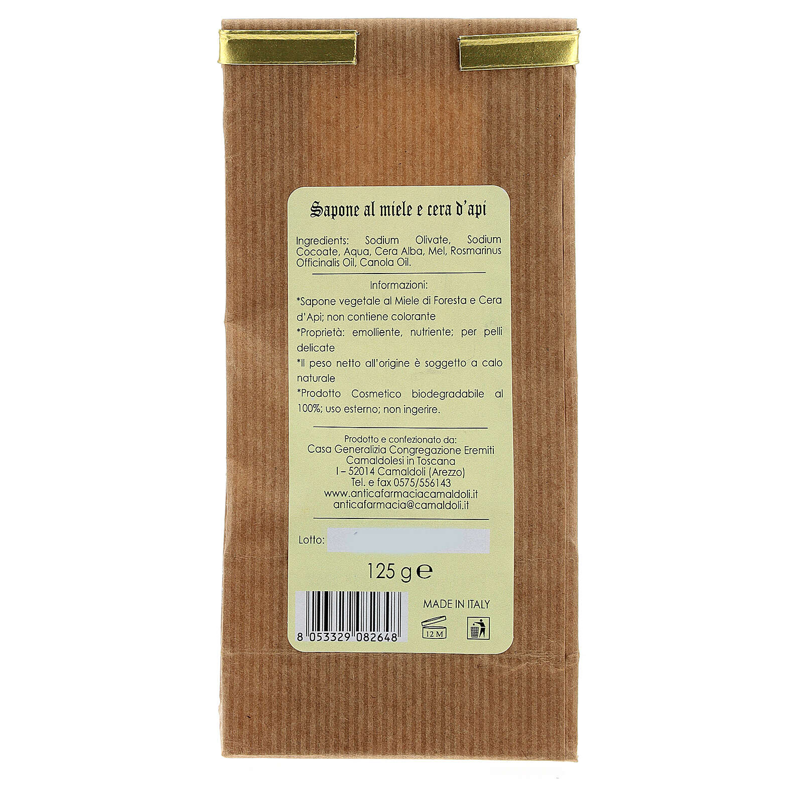 Natural Soap with Honey and Beeswax - Delicate 125 gr Camaldoli 4