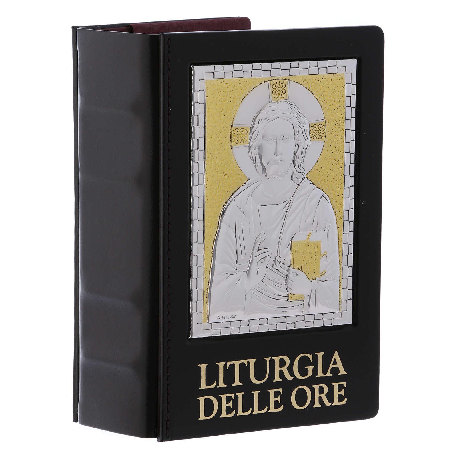 Capa Liturgia das Horas Jesus Pantocrator Placa prateada e dourada 4