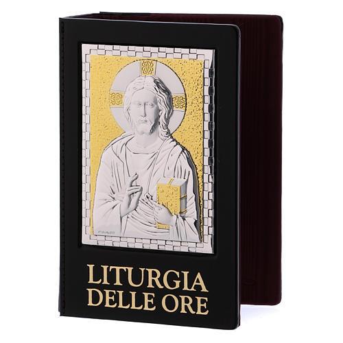 Capa Liturgia das Horas Jesus Pantocrator Placa prateada e dourada 1