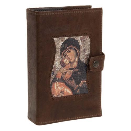 Couverture liturgie 4 vol. cuir Vierge à l'enfant 1