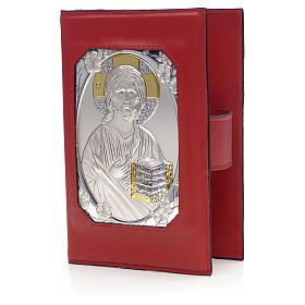 Copertina liturgia ore 4 vol. vera pelle placca Gesù s1