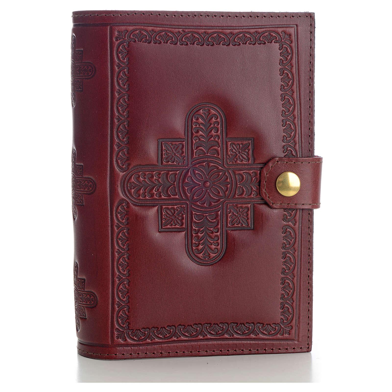 Copri liturgia 4 vol. vera pelle bordeaux croci decorate 4