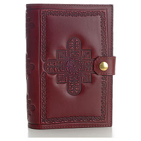 Copri liturgia 4 vol. vera pelle bordeaux croci decorate s1
