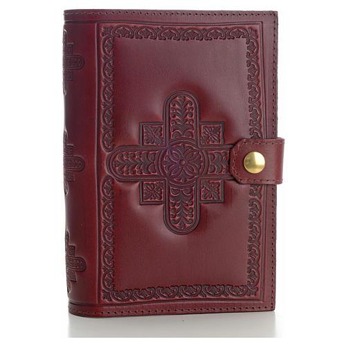 Copri liturgia 4 vol. vera pelle bordeaux croci decorate 1