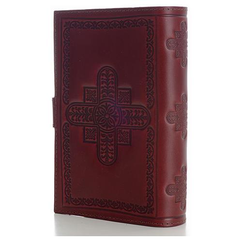 Copri liturgia 4 vol. vera pelle bordeaux croci decorate 2