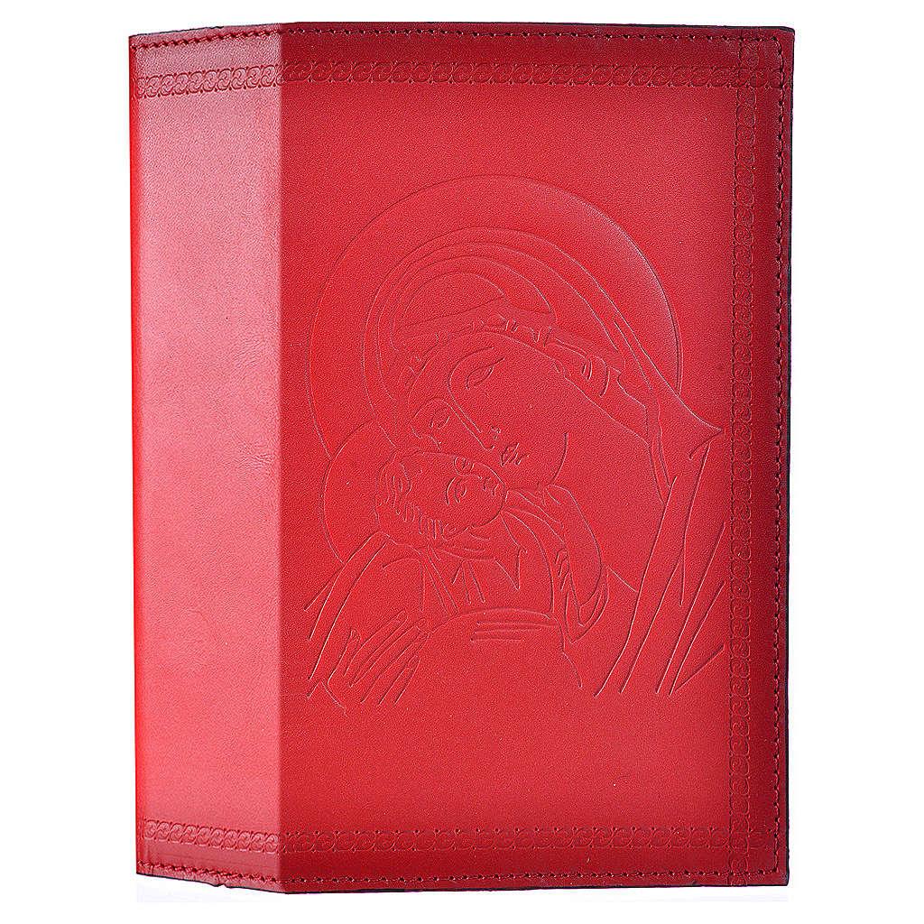 Étui liturgie heures 4 vol. cuir rouge Vierge Enfant 4