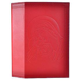 Étui liturgie heures 4 vol. cuir rouge Vierge Enfant s1