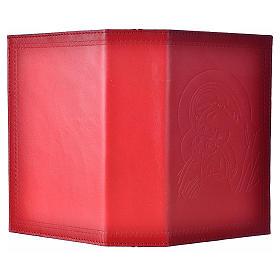 Étui liturgie heures 4 vol. cuir rouge Vierge Enfant s2