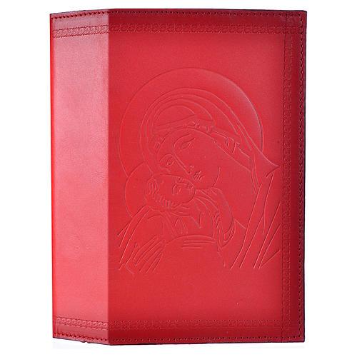Étui liturgie heures 4 vol. cuir rouge Vierge Enfant 1