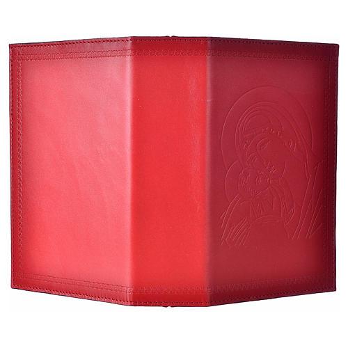 Étui liturgie heures 4 vol. cuir rouge Vierge Enfant 2