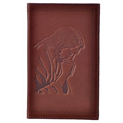 Étui liturgie heures 4 vol. cuir brun Christ en prière 1