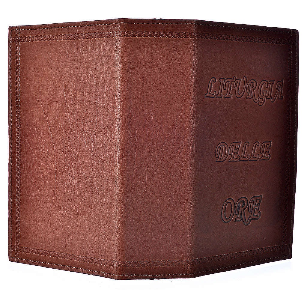 Étui liturgie heures 4 vol. cuir brun impression 4