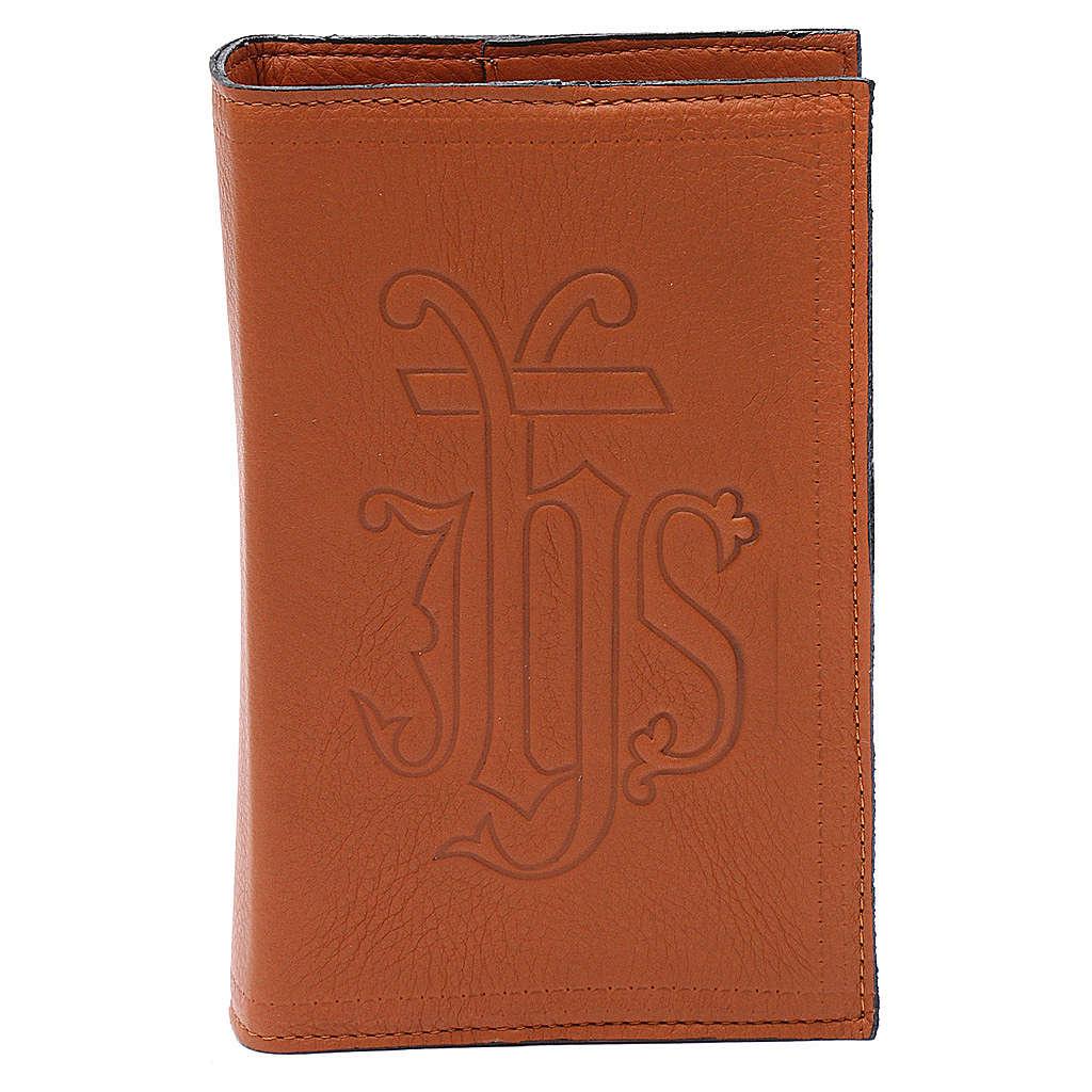 Étui liturgie heures 4 vol. cuir brun IHS 4