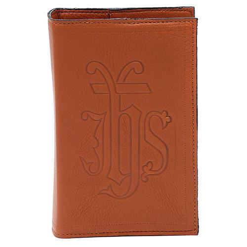 Étui liturgie heures 4 vol. cuir brun IHS 1