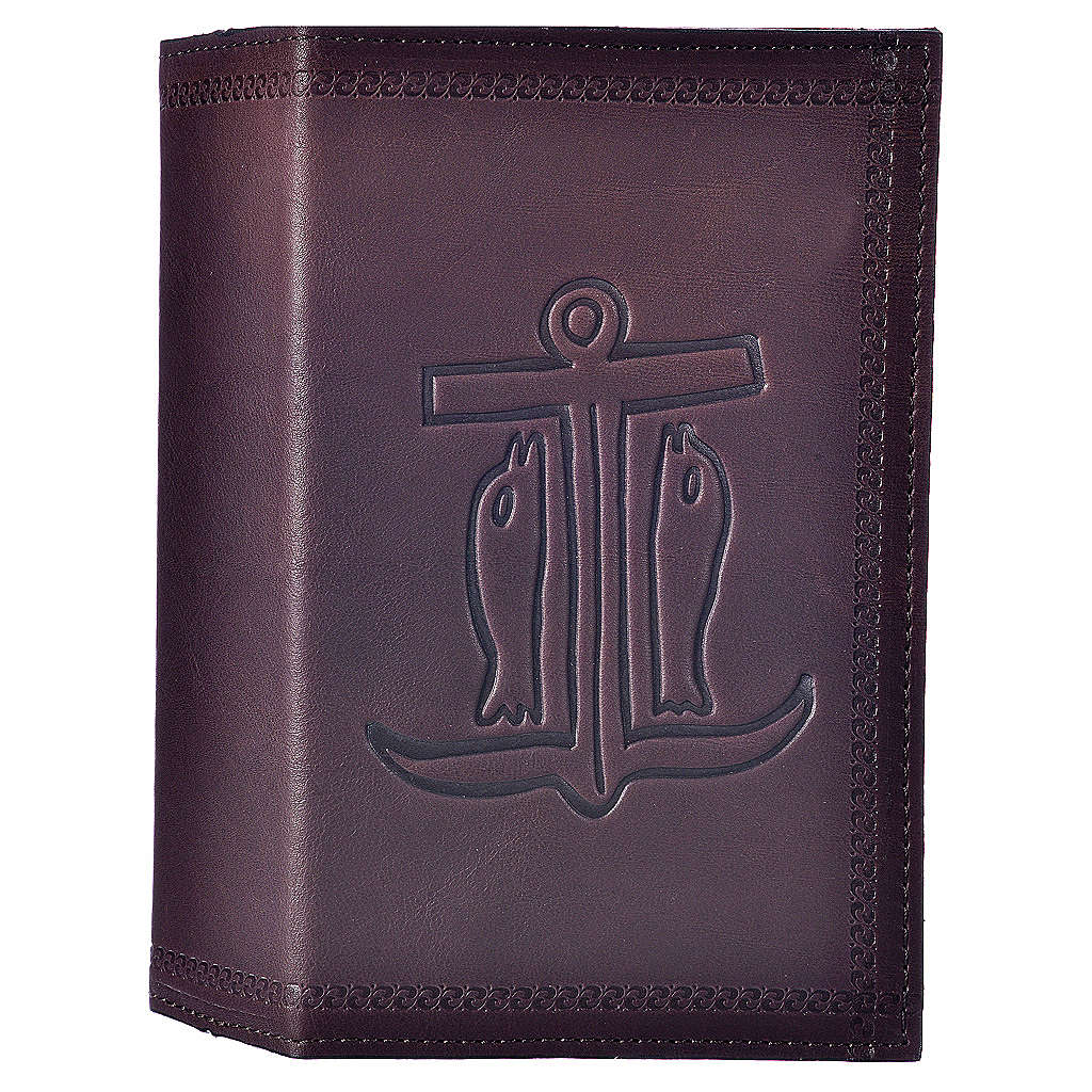 Étui liturgie heures 4 vol. cuir brun foncé Ancre du Salut 4