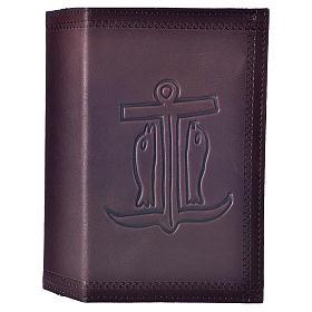 Étui liturgie heures 4 vol. cuir brun foncé Ancre du Salut s1