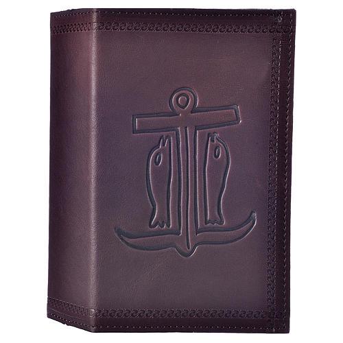 Étui liturgie heures 4 vol. cuir brun foncé Ancre du Salut 1