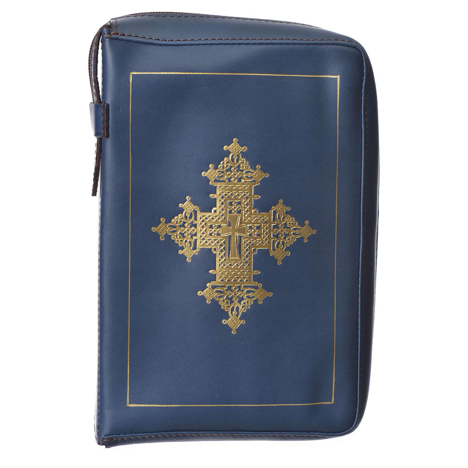 Couverture liturgie heures 4 vol. croix or bleu Bethléem 4
