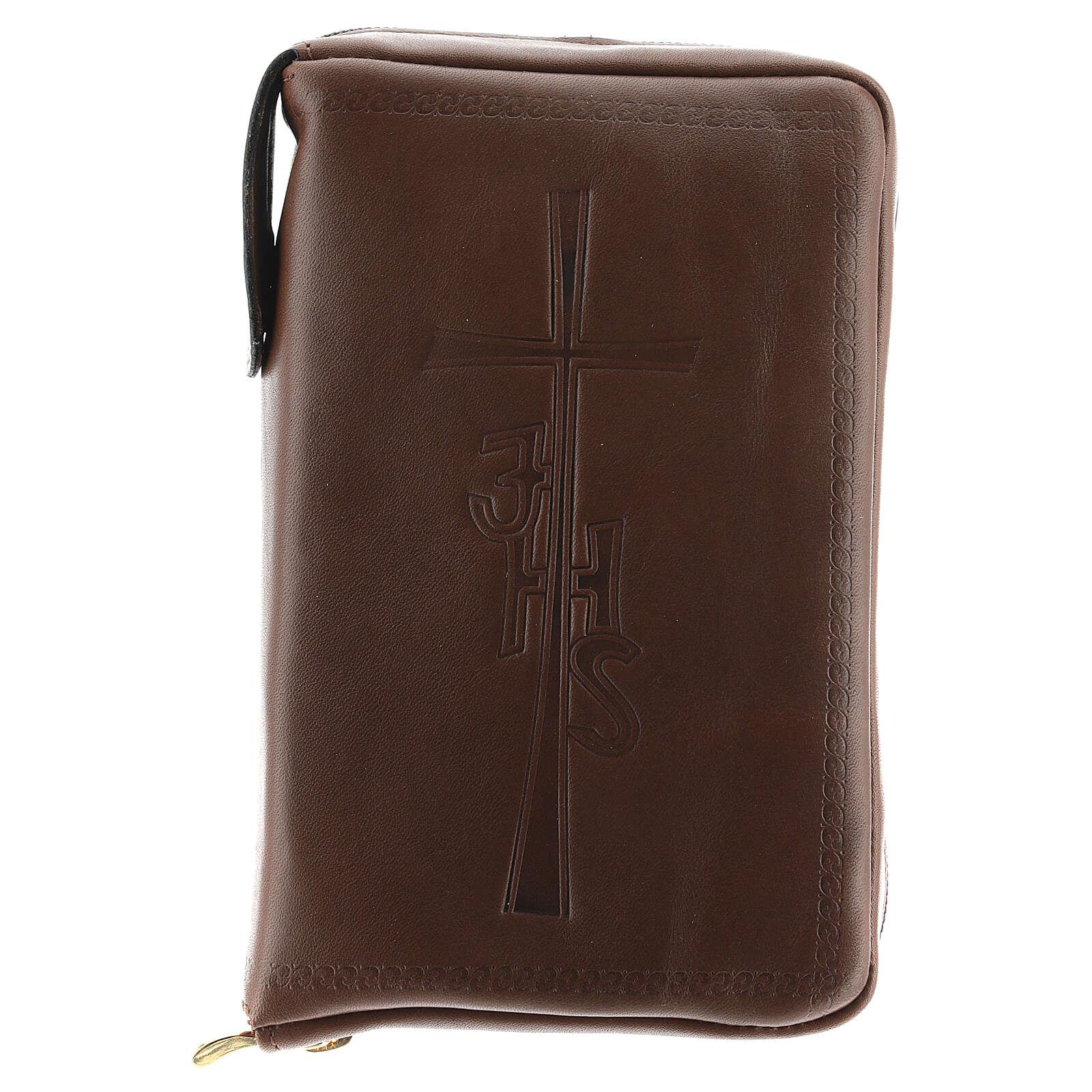Couverture Liturgie des heures 4 vol. croix IHS cuir brun fermeture éclair 4
