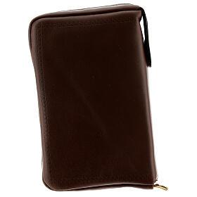 Couverture Liturgie des heures 4 vol. croix IHS cuir brun fermeture éclair s5