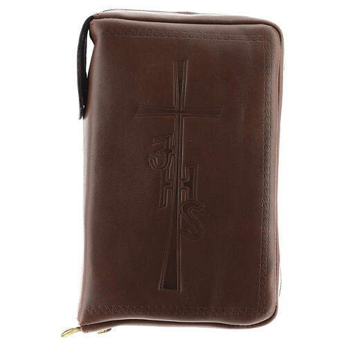 Couverture Liturgie des heures 4 vol. croix IHS cuir brun fermeture éclair 1