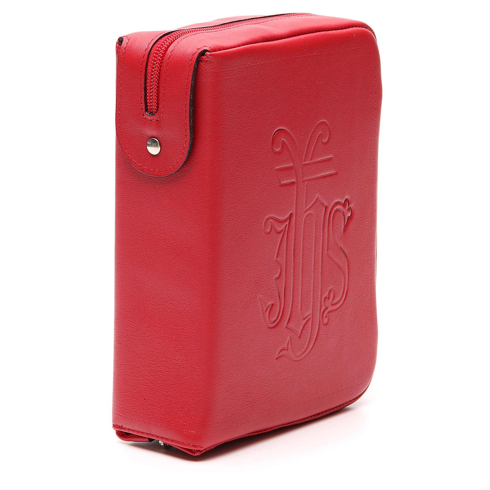 Copri Liturgia delle Ore 4 vol. IHS impresso pelle rossa zip 4