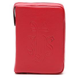Copri Liturgia delle Ore 4 vol. IHS impresso pelle rossa zip s1
