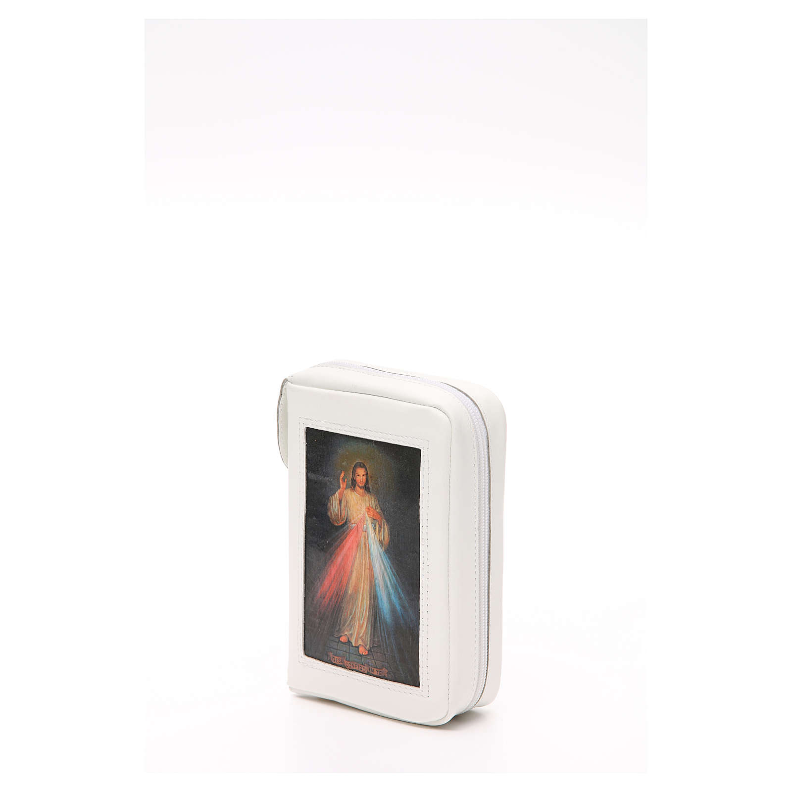Capa Liturgia das Horas Branca em Couro Natural Jesus Misericordioso fecho de correr 4