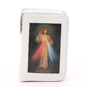 Capa Liturgia das Horas Branca em Couro Natural Jesus Misericordioso fecho de correr s1