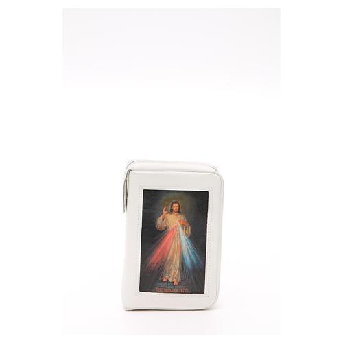Capa Liturgia das Horas Branca em Couro Natural Jesus Misericordioso fecho de correr 2