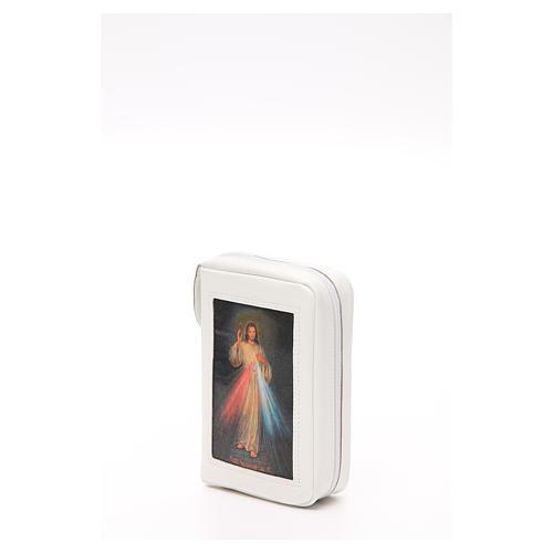 Capa Liturgia das Horas Branca em Couro Natural Jesus Misericordioso fecho de correr 3