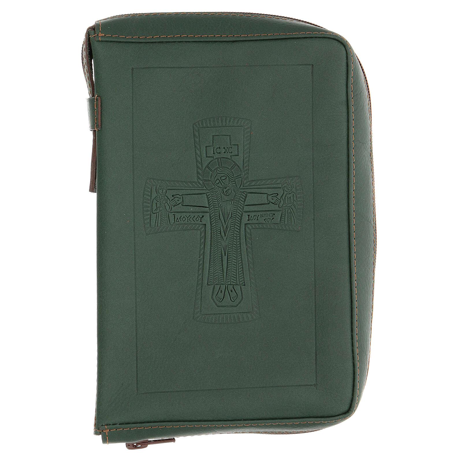 Custodia lit. ore 4 vol. PELLE verde croce impressa Monaci Bethléem 4
