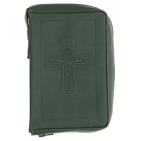 Custodia lit. ore 4 vol. PELLE verde croce impressa Monaci Bethléem s1
