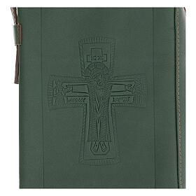 Custodia lit. ore 4 vol. PELLE verde croce impressa Monaci Bethléem s2