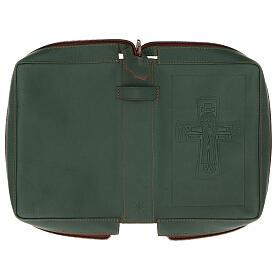Custodia lit. ore 4 vol. PELLE verde croce impressa Monaci Bethléem s5