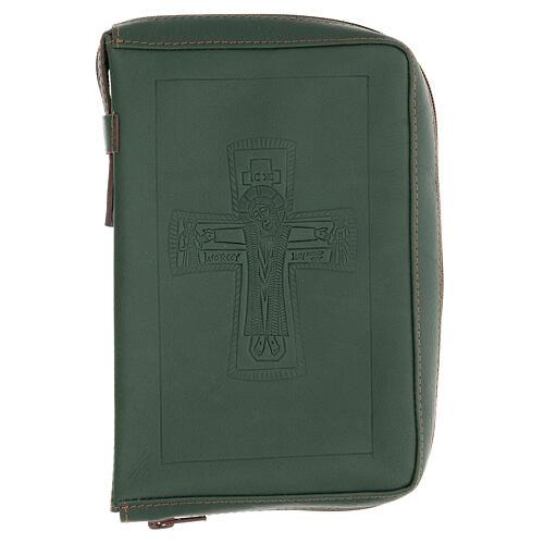 Custodia lit. ore 4 vol. PELLE verde croce impressa Monaci Bethléem 1