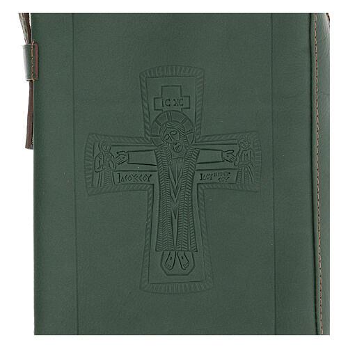 Custodia lit. ore 4 vol. PELLE verde croce impressa Monaci Bethléem 2