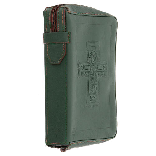Custodia lit. ore 4 vol. PELLE verde croce impressa Monaci Bethléem 3